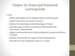 Disadvantages Of Teamwork Ppt Chapter 16 Teams And Teamwork Learning Goals