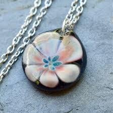 glass flower pendant necklace boro lampwork jewelry healer