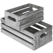 details about light gray wash brown wood nesting boxes storage crates w handles set of 2