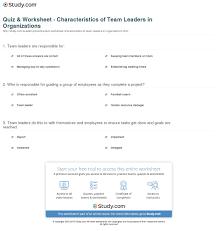 Quiz Worksheet Characteristics Of Team Leaders In Organizations
