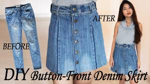 Upcycle Old Clothes Diy Turn Your Old Jeans Into Skirt Button Front Denim Skirt From