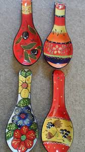 spanish ceramic pottery hand painted spoon rests various designs