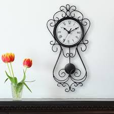 chaney 16 5 inch decorative wrought iron metal wall clock 75374