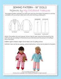 Pajama Patterns Adorable 48 Inch Doll Pajamas Sewing Pattern TREASURIE My Childhood Treasures