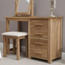 Small Bedroom Stools Opus Solid Oak Single Pedestal Dressing Table And Stool Oak