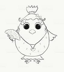 Kleurplaat Voor Kinderen Grappige Chick Meisje Stockvectorkunst En