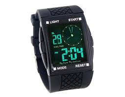 led digital and analog men sports watch square dial plastic led digital and analog men sports watch square dial plastic band sports watch black