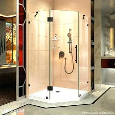 enigma x fully sliding shower door and slimline by single dreamline mirage frameless brushed nickel
