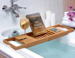 wooden bathtub reading tray caddy with book and wine holder plus cozy design