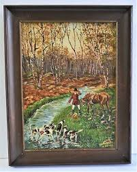 MORTON MITNICK SMALL Antique Oil Painting Canvas 1945 Signed Hunting Scene  Folk - $44.00 | PicClick