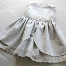 Light grey Linen baby girl sleeveless summer dress with lace and bloomers  First birthday outfit
