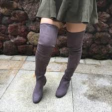 faux suede over the knee flat boots womens thigh high boots low heel comfort fall winter