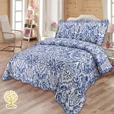 Luxury Navy Blue Quilt With Geometric Print - 3 Piece Quilt Set ... & Luxury Navy Blue Quilt With Geometric Print - 3 Piece Quilt Set - All Home  Living LLP Adamdwight.com
