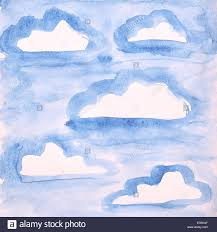 blue sky with clouds watercolor painting