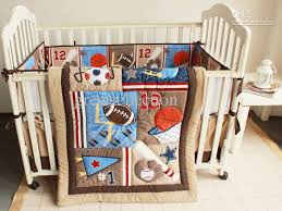 new embroidered baseball sports pattern boby baby cot crib bedding set 4 items includes quilt per sheet skirt comforter set for boys designer bedding