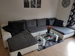 Sofa U Form Teil Leder Couchtisch