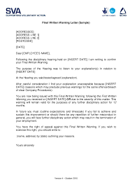 How To Write A Warning Letter To An Employee Pdf Final Written Warning Letter Sample Sharon Adriano