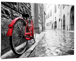retro vintage red bike cityscape photo metal wall art  on red bicycle metal wall art with retro vintage red bike cityscape photo metal wall art