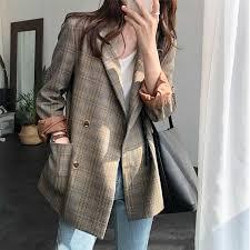 Plaid Retro Khaki Ladies Blazer Casual Loose Stylish Suit Jacket ...