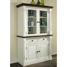 Furniture: Distressed White Kitchen Buffet With Hutch And Glass Cabinet  Doors - Kitchen Buffet Ikea