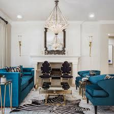 stunning teal velvet seating is perfectly enhanced by modern art deco vibes in this living room designed by zehana