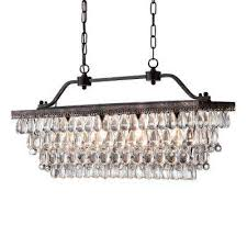 4 light antique bronze crystal chandelier