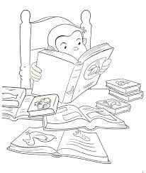 curious george reading a book coloring book page printable
