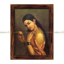 raja ravi varma painting a lady holding a fruit