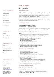 hotel receptionist resume sample