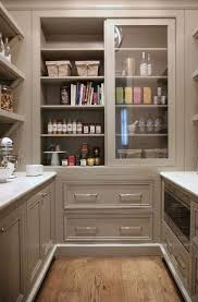 grey pantry cabinets with sliding doors