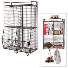 Small Picture Wall Mounted Collapsible Brown Metal Wire Mesh Storage Basket