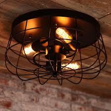 industrial loft metal cage three exposed bulbs semi flush mount 3 light ceiling light in black finish semi flush mount ceiling lights lighting