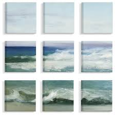 blue cresting waves ocean horizon painting 9 piece canvas wall art set 12 x12 beach style prints and posters by stupell industries