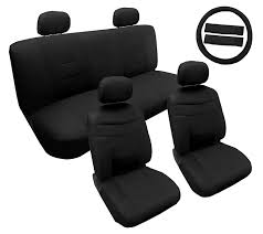 premium synthetic pu faux leather seat cet solid black 14pc set for toyota prius com