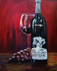 wine painting silver oak of napa valley limited edition g iclee print on canvas kitchen art wine art gift for men