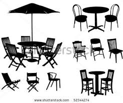 outdoor table and chairs silhouette