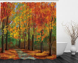 woodsy shower curtain forest north woods falling leaves fall park road autumn leaves country home decor seasonal colors romantic path walk trail way