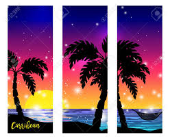 caribbean sea view triptych with palm tree silhouettes and ocean sunset vector digital artwork stock vector