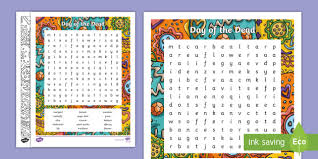 Day Of The Dead Word Search Day Of The Dead Dia De Los Muertos Word