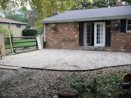 paver patio complete next step landscaping along fence slab steps
