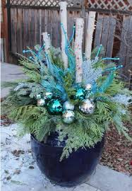 blue and white winter planter