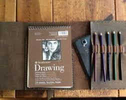 strathmore sketchbook refillable leather sketchbook journal with 3 pockets pencil case and phone pocket