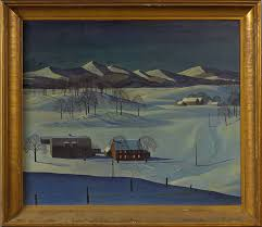 rockwell kent american 1882 1971 mountainous landscape with farm buildings in snow