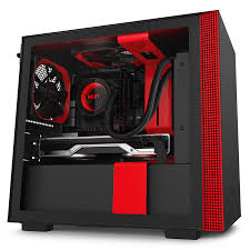Red Pc Case Lighting Nzxt H210i Mini Itx Pc Gaming Case Tempered Glass Side Panel Cable Management Integrated Rgb Lighting Matte Black Red