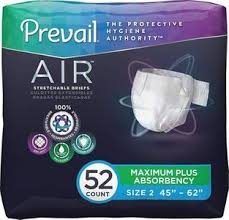 Prevail Breezers 360 Size Chart Prevail Air Maximum Plus Absorbency Stretchable Incontinence Briefs Adult Diapers Size 2 52 Count