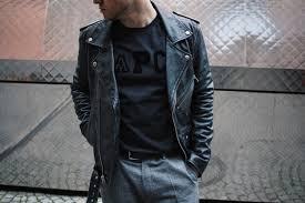 blk dnm leather jacket outfit class with edge apc paris t shirt samsoe samsoe suit