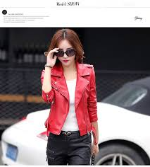 leather jacket women slim outerwear spring autumn short design leather jackets plus size k6603