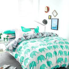 elephant bedding twin fresh green white linens sets high end cotton single double queen size duvet