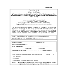 Form Of Share Certificate Share Certificate Format For Private Limited Company Fill
