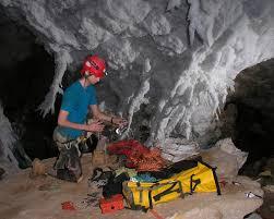 matt covington sorting gear in chandelier ballroom lechuguilla cave nm july 2008